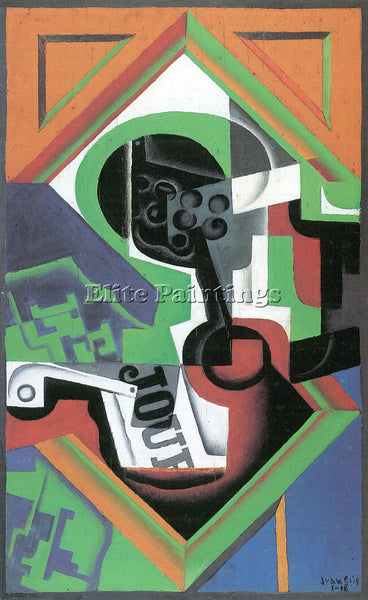 JUAN GRIS WHISTLE AND FRUIT BOWL OF GRAPES ARTIST PAINTING REPRODUCTION HANDMADE