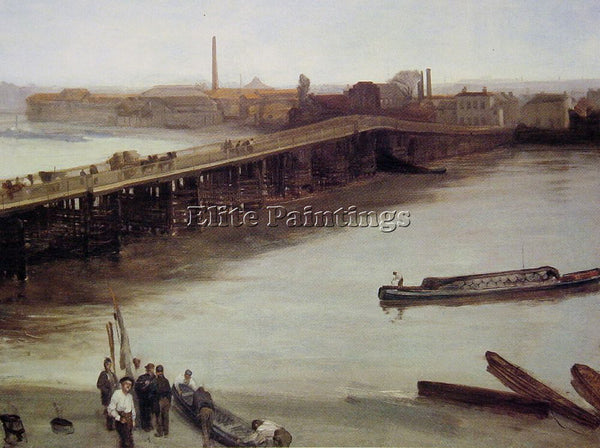 WHISTLER JAMES ABBOTT MCNEILL BROWN AND SILVER OLD BATTERSEA BRIDGE PAINTING OIL
