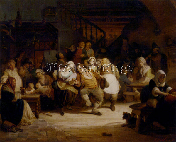 BELGIAN WILDE AUGUST DE FIGURES IN A TAVERN ARTIST PAINTING HANDMADE OIL CANVAS