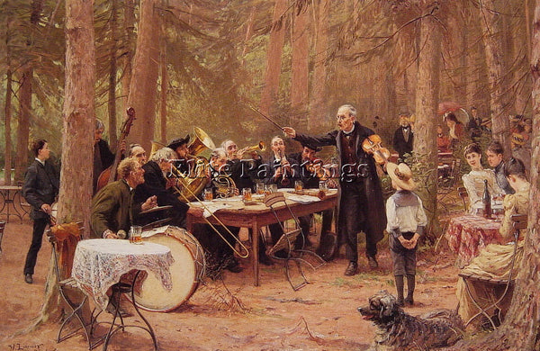 GERMAN WILHELM CARL AUGUST ZIMMER THE ORCHESTRA BIERGARTEN ARTIST PAINTING REPRO