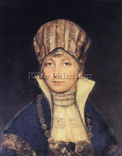 GERMAN WILHELM MENZLER PORTRAIT OF A WOMAN IN A BONNET ARTIST PAINTING HANDMADE