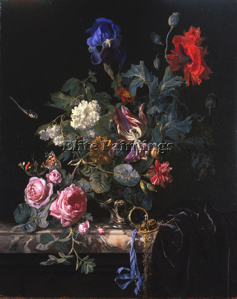 HOLLAND WILLEM VAN AELST FLOWERS IN A SILVER VASE ARTIST PAINTING REPRODUCTION