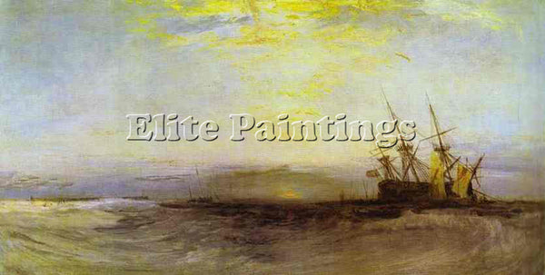 WILLIAM TURNER A SHIP AGROUND ARTIST PAINTING REPRODUCTION HANDMADE CANVAS REPRO