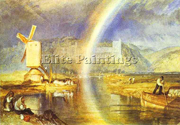 WILLIAM TURNER ARUNDEL CASTLE WITH RAINBOW ARTIST PAINTING REPRODUCTION HANDMADE