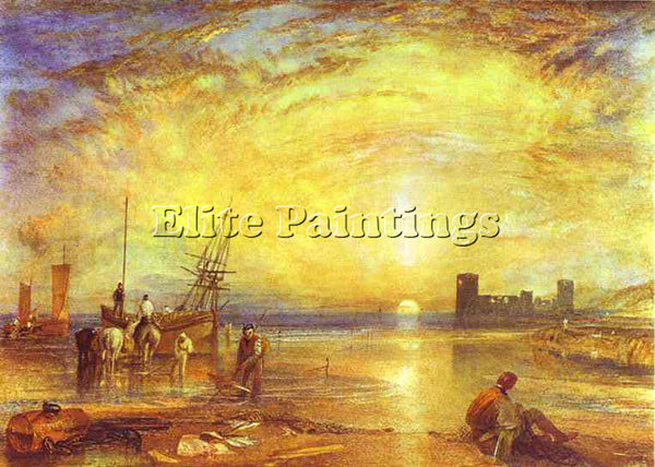 WILLIAM TURNER FLINT CASTLE ARTIST PAINTING REPRODUCTION HANDMADE OIL CANVAS ART