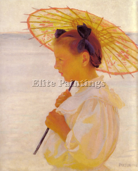 WILLIAM MCGREGOR PAXTON CHILD IN SUNLIGHTOR THE CHINESE PARASOL 1908 OIL CANVAS