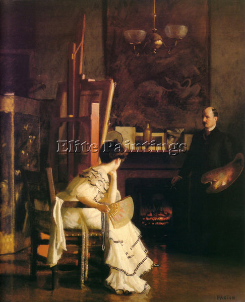 WILLIAM MCGREGOR PAXTON IN THE STUDIO C1905 ARTIST PAINTING HANDMADE OIL CANVAS