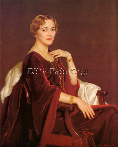 WILLIAM MCGREGOR PAXTON PORTRAIT OF MRS CHARLES FREDERICTOPPAN 1935 PAINTING OIL