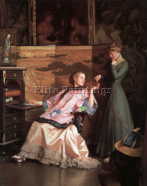 WILLIAM MCGREGOR PAXTON THE NEW NECKLACE 1910 ARTIST PAINTING REPRODUCTION OIL