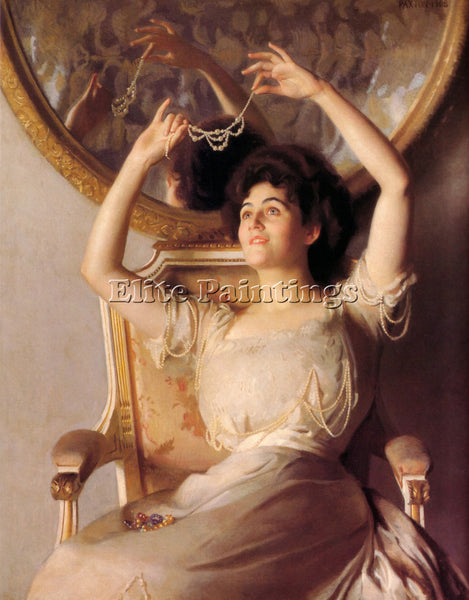 WILLIAM MCGREGOR PAXTON THE STRINGOF PEARLS 1908 ARTIST PAINTING HANDMADE CANVAS