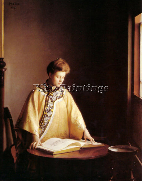 WILLIAM MCGREGOR PAXTON THE YELLOW JACKET 1907 ARTIST PAINTING REPRODUCTION OIL