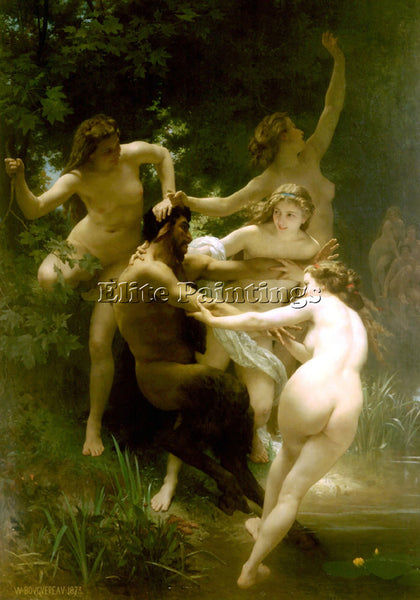 WILLIAM-ADOLPHE BOUGUEREAU NYMPHES ET SATYRE ARTIST PAINTING HANDMADE OIL CANVAS