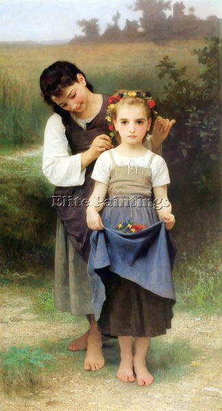 WILLIAM-ADOLPHE BOUGUEREAU PARURE DES CHAMPS ARTIST PAINTING HANDMADE OIL CANVAS