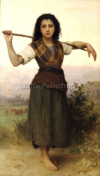 WILLIAM-ADOLPHE BOUGUEREAU PASTOURELLE ARTIST PAINTING REPRODUCTION HANDMADE OIL