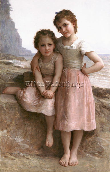 WILLIAM-ADOLPHE BOUGUEREAU SUR LA GREVE ARTIST PAINTING REPRODUCTION HANDMADE