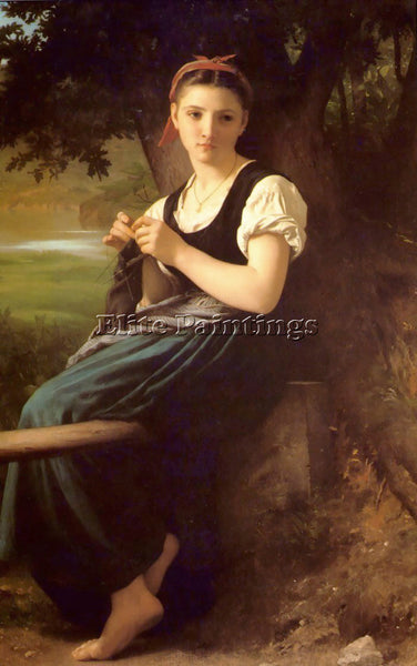 WILLIAM-ADOLPHE BOUGUEREAU THE KNITTING GIRL ARTIST PAINTING HANDMADE OIL CANVAS
