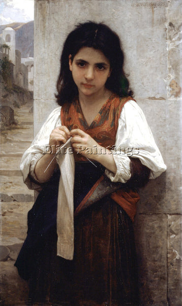 WILLIAM-ADOLPHE BOUGUEREAU TRICOTEUSE 1879 ARTIST PAINTING REPRODUCTION HANDMADE