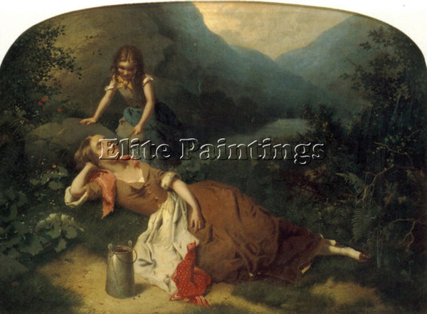 BRITISH WILLIAM EDWARD MILLNER THE AFTERNOON NAP ARTIST PAINTING HANDMADE CANVAS