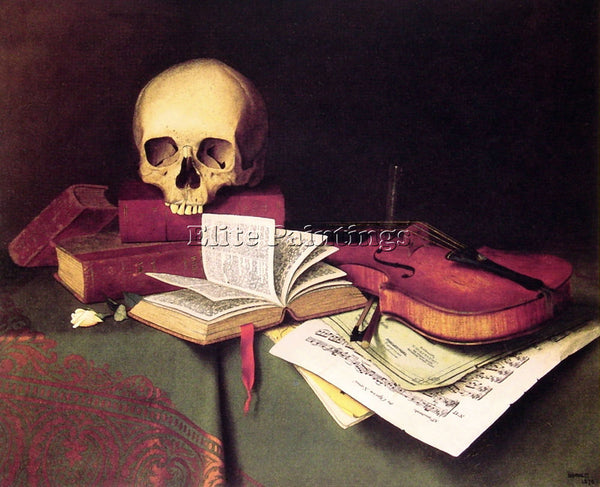 WILLIAM MICHAEL HARNETT MORTALITY AND IMMORTALITY ARTIST PAINTING REPRODUCTION