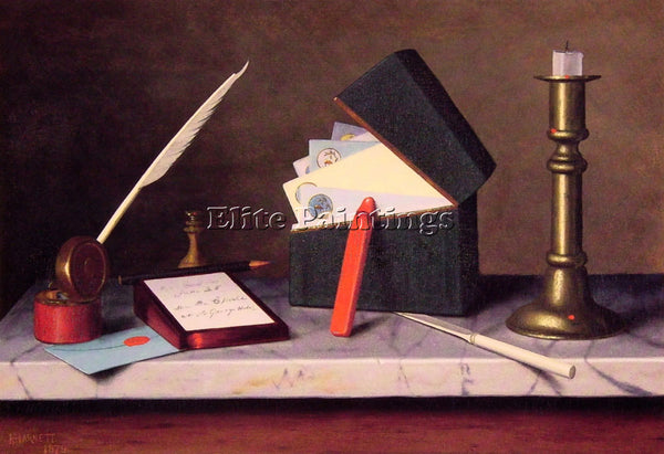WILLIAM MICHAEL HARNETT SECRETARYS TABLE ARTIST PAINTING REPRODUCTION HANDMADE