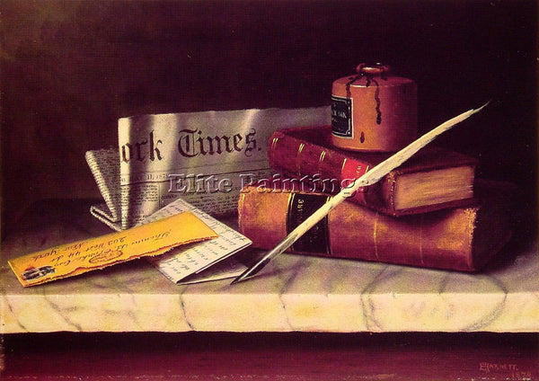 WILLIAM MICHAEL HARNETT STILL LIFE WITH LETTER TO THOMAS B CLARKE ARTIST CANVAS