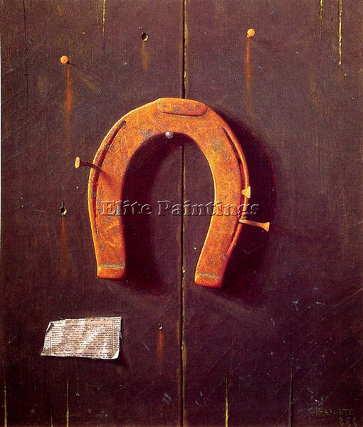 WILLIAM MICHAEL HARNETT THE GOLDEN HORSHOE ARTIST PAINTING REPRODUCTION HANDMADE
