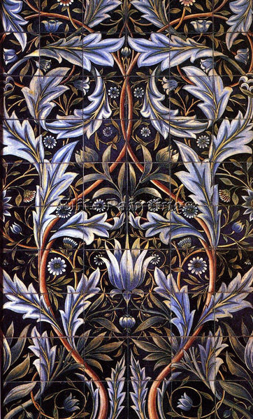 WILLIAM MORRIS FLOWERTILE ARTIST PAINTING REPRODUCTION HANDMADE OIL CANVAS REPRO