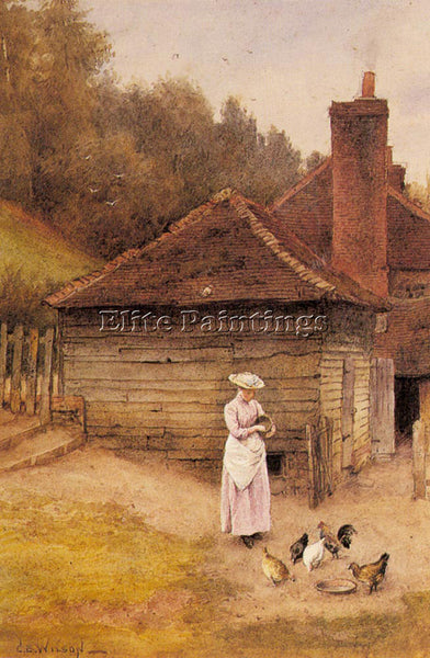GERMAN WILSON CHARLES EDWARD FEEDING CHICKENS ARTIST PAINTING REPRODUCTION OIL