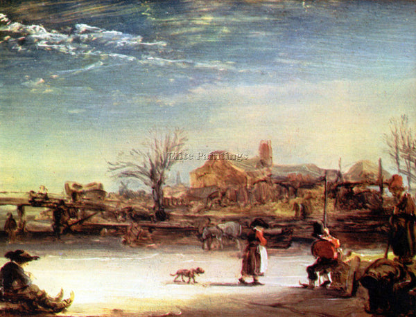 REMBRANDT WINTER LANDSCAPE ARTIST PAINTING REPRODUCTION HANDMADE OIL CANVAS DECO