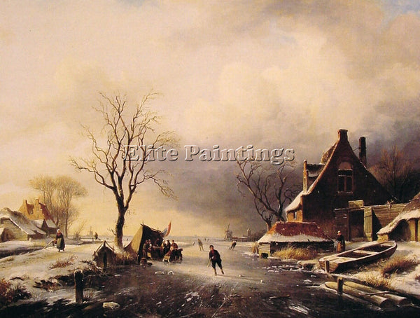 CHARLES HENRI JOSEPH LEICKERT WINTER SCENE WITH SKATERS ARTIST PAINTING HANDMADE