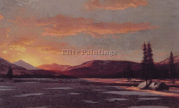 WILLIAM BRADFORD WINTER SUNSET ARTIST PAINTING REPRODUCTION HANDMADE OIL CANVAS