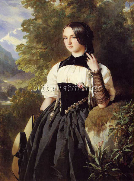 GERMAN WINTERHALTER FRANZ XAVER A SWISS GIRL FROM INTERLAKEN ARTIST PAINTING OIL