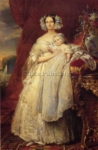 WINTERHALTER HELENE LOUISE MECKLEMBOURG DUCHESS ORLEANS WITH SON COUNT PARIS OIL