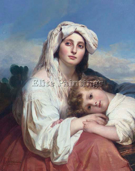 GERMAN WINTERHALTER FRANZ XAVER ITALIAN WOMAN WITH CHILD ARTIST PAINTING CANVAS