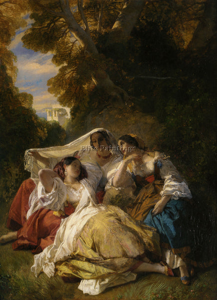 GERMAN WINTERHALTER FRANZ XAVER LA SIESTA 1841 ARTIST PAINTING REPRODUCTION OIL
