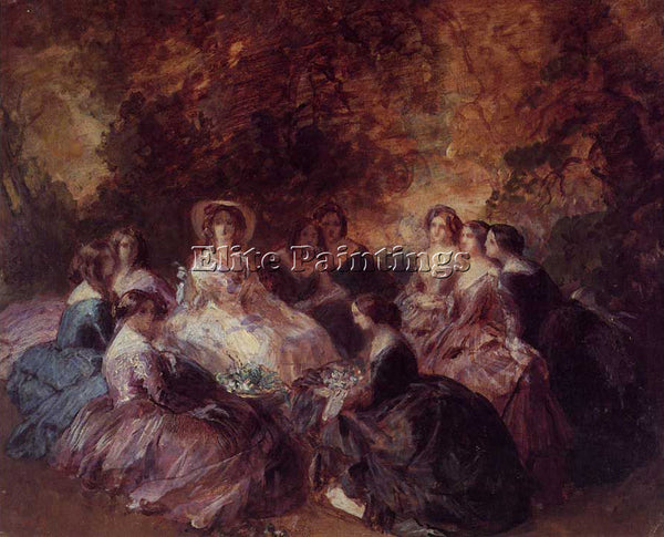 WINTERHALTER EMPRESS EUGENIE SURROUNDED BY HER LADIES IN WAITING 1855 ARTIST OIL