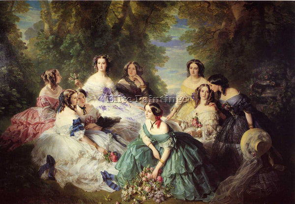 WINTERHALTER THE EMPRESS EUGENIE SURROUNDED BY HER LADIES IN WAITING OIL CANVAS