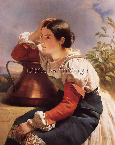 FRANZ XAVIER WINTERHALTER YOUNG ITALIAN GIRL BY THE WELL ARTIST PAINTING CANVAS