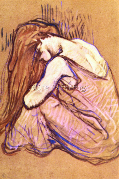 TOULOUSE-LAUTREC WOMAN COMBING HAIR ARTIST PAINTING REPRODUCTION HANDMADE OIL