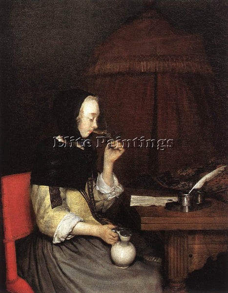 GERARD TER BORCH WOMAN DRINKING WINE 1 ARTIST PAINTING REPRODUCTION HANDMADE OIL
