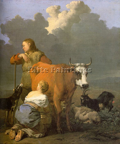 KAREL DUJARDIN WOMAN MILKING A RED COW ARTIST PAINTING REPRODUCTION HANDMADE OIL