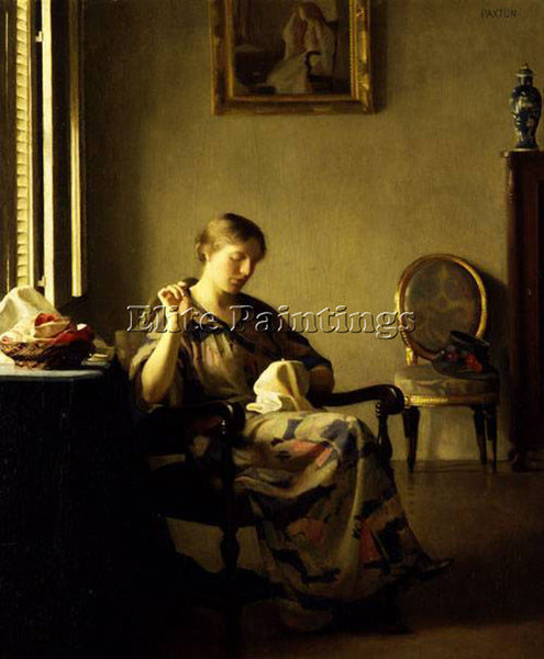 WILLIAM MCGREGOR PAXTON WOMAN SEWING ARTIST PAINTING REPRODUCTION HANDMADE OIL