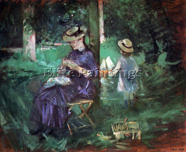 MORISOT WOMAN AND CHILD IN GARDEN ARTIST PAINTING REPRODUCTION HANDMADE OIL DECO