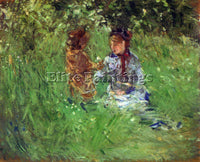 MORISOT WOMAN AND CHILD IN GARDEN IN BOUGIVAL ARTIST PAINTING REPRODUCTION OIL