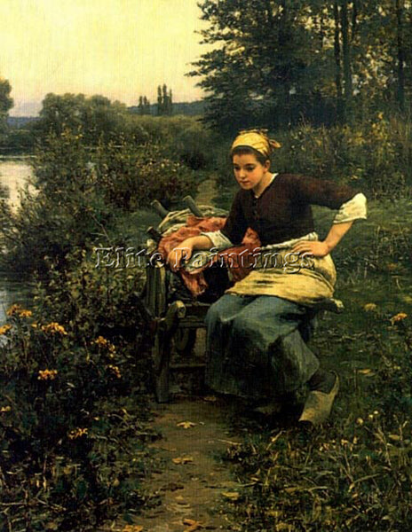 DANIEL RIDGWAY KNIGHT WOMAN IN LANDSCAPE ARTIST PAINTING REPRODUCTION HANDMADE