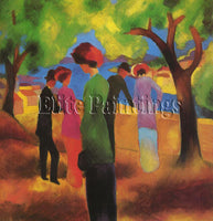 FAMOUS PAINTINGS WOMAN IN A GREEN JACKET MACKE 44X43 CM ARTIST PAINTING HANDMADE