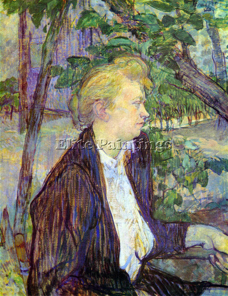 TOULOUSE-LAUTREC WOMAN IN THE GARDEN ARTIST PAINTING REPRODUCTION HANDMADE OIL