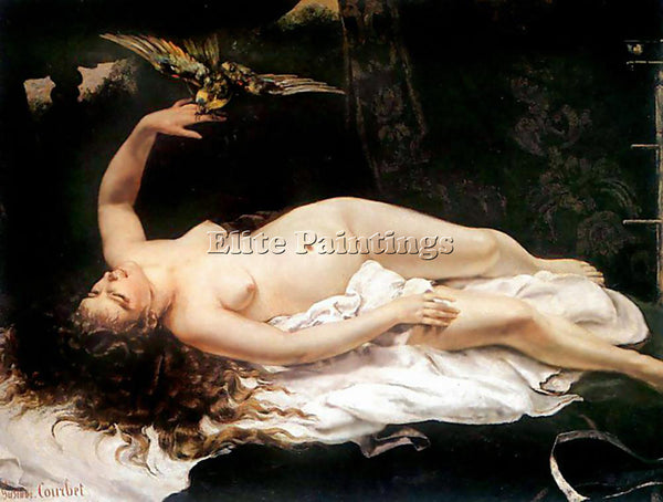 GUSTAVE COURBET WOMAN WITH A PARROT ARTIST PAINTING REPRODUCTION HANDMADE OIL
