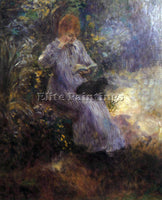 RENOIR WOMAN WITH A BLACK DOG ARTIST PAINTING REPRODUCTION HANDMADE CANVAS REPRO