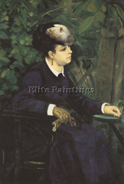 RENOIR WOMAN WITH GULL FEATHER WOMAN IN THE GARDEN  ARTIST PAINTING REPRODUCTION